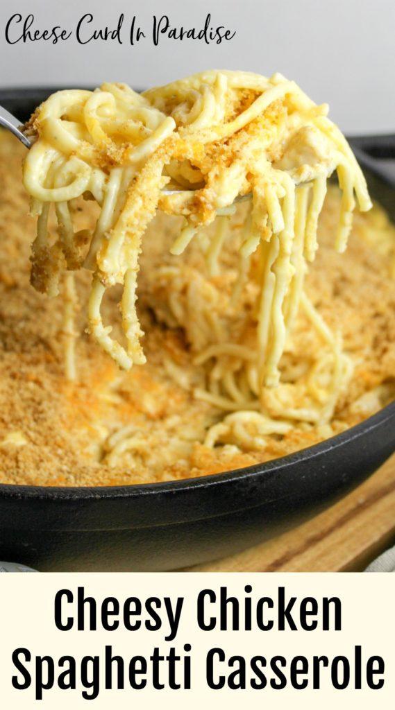 chicken pasta on a spoon