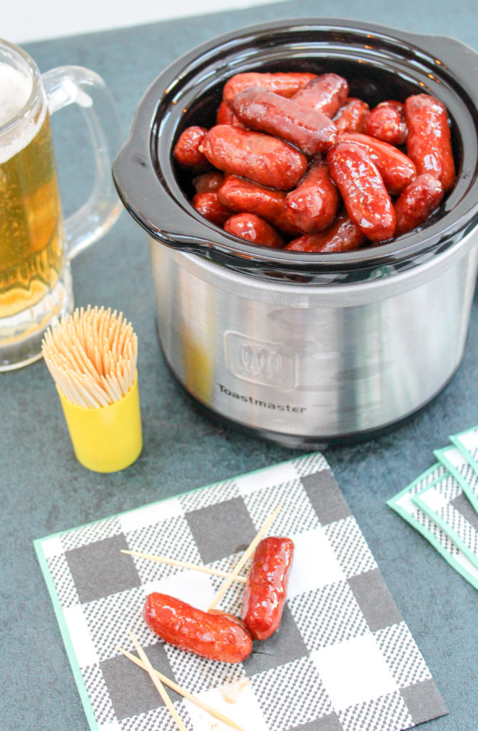 little smokie sausages in a slow cooker