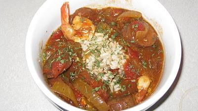 Crock Pot Jambalaya in a bowl with rice