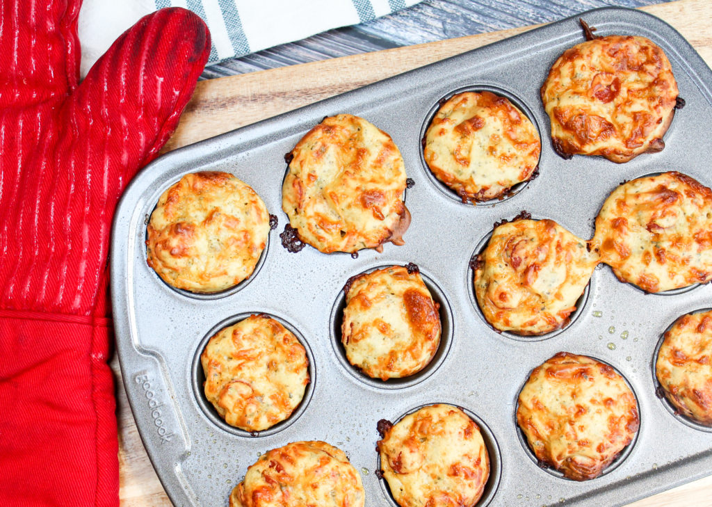 pizza muffins in a muffin tin