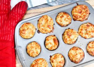 pizza muffins in a muffin tin
