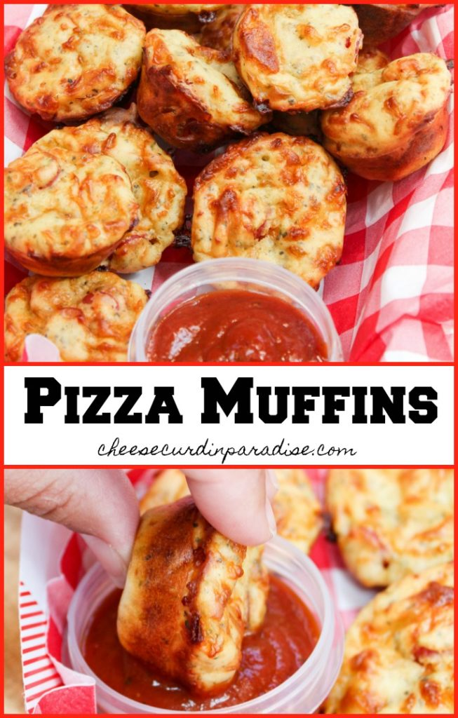 pizza muffins in a basket