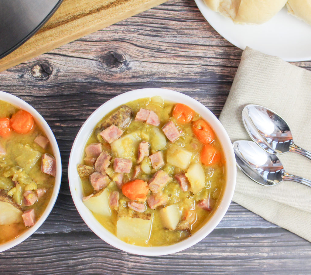 pea soup in white bowls