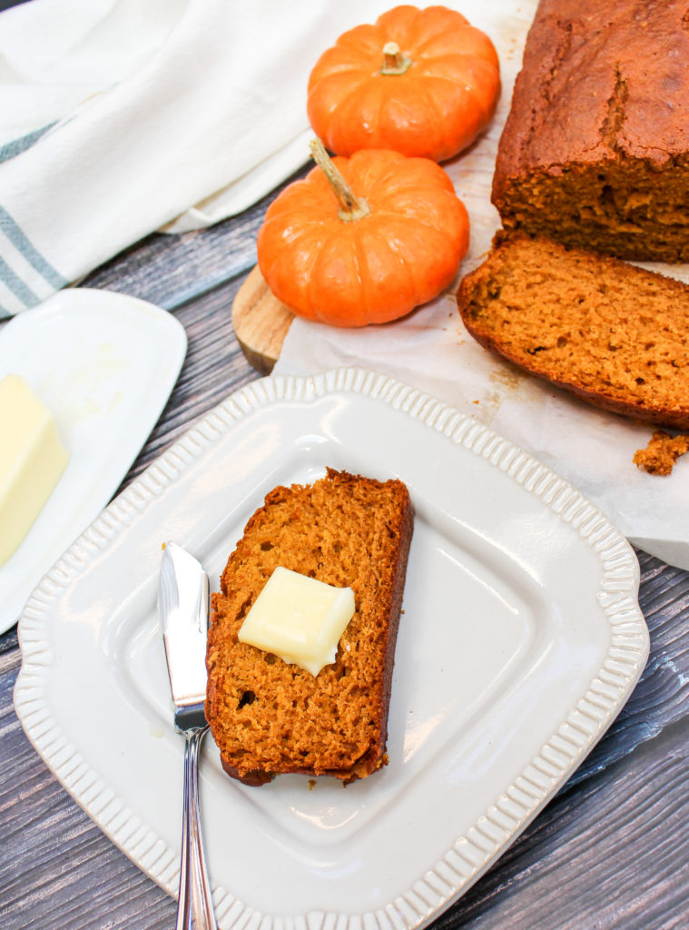 pumpkin bread on a plate
