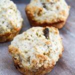 close up of irish soda bread muffin