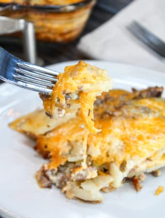 Casserole on a fork
