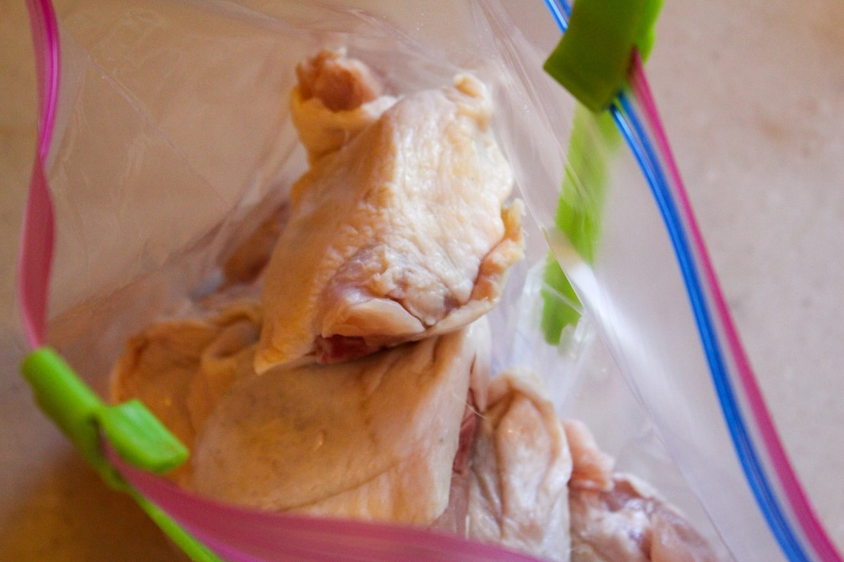 chicken thighs in bag