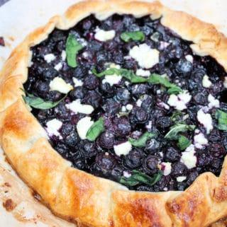 blueberry galette n cutting board