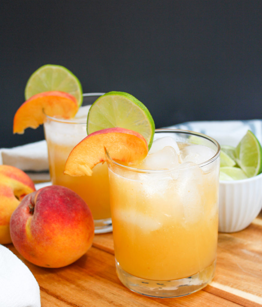 margarita in a glass with peaches