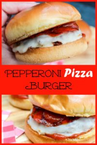 Pizza burger being held