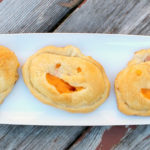 Pumpkin shaped pastry filled with ham and cheese