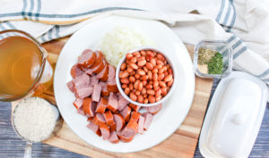 ingredients for rice and beans with sausage