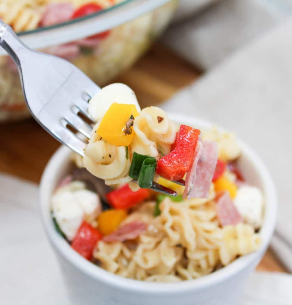 pasta salad on a fork