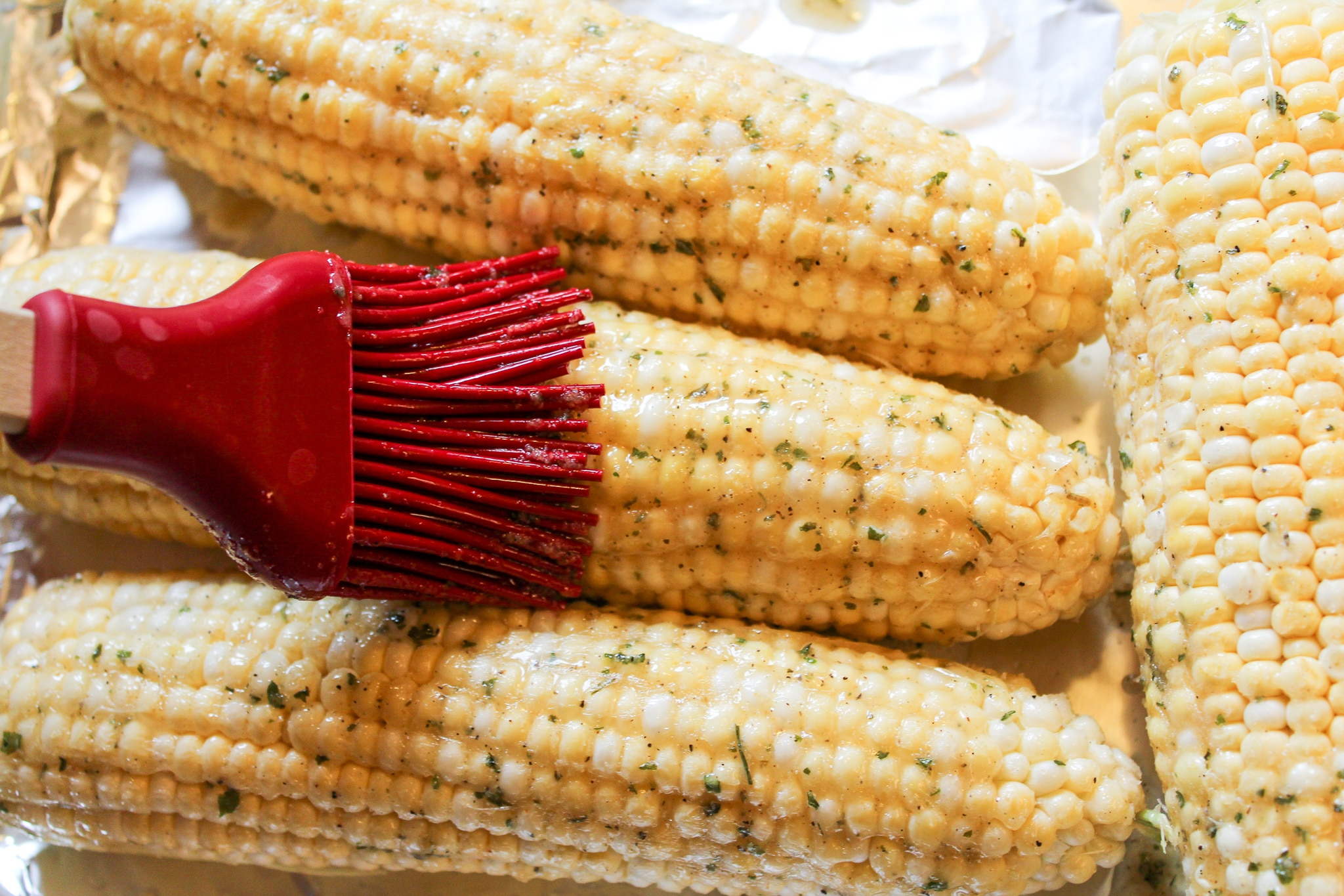 corn brushed with butter