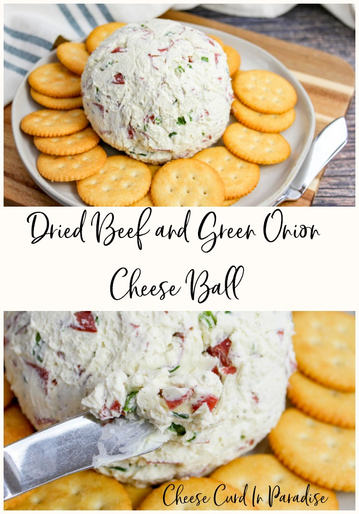Cheese Ball on a plate- pinterest graphic