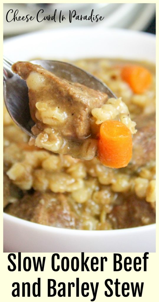 beef and barley on a spoon