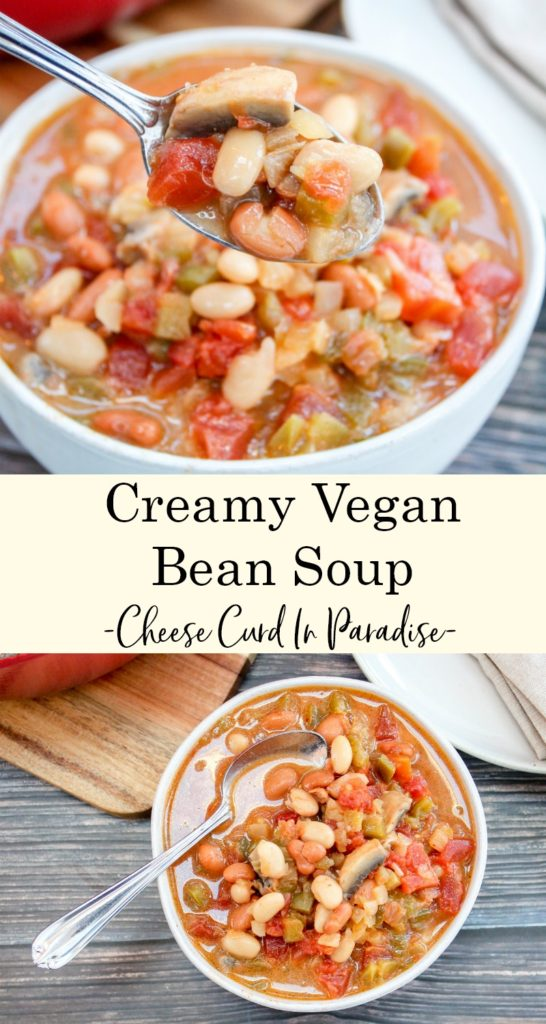 vegan bean soup pinterest image