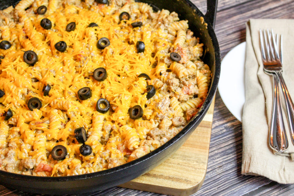 taco pasta in a skillet