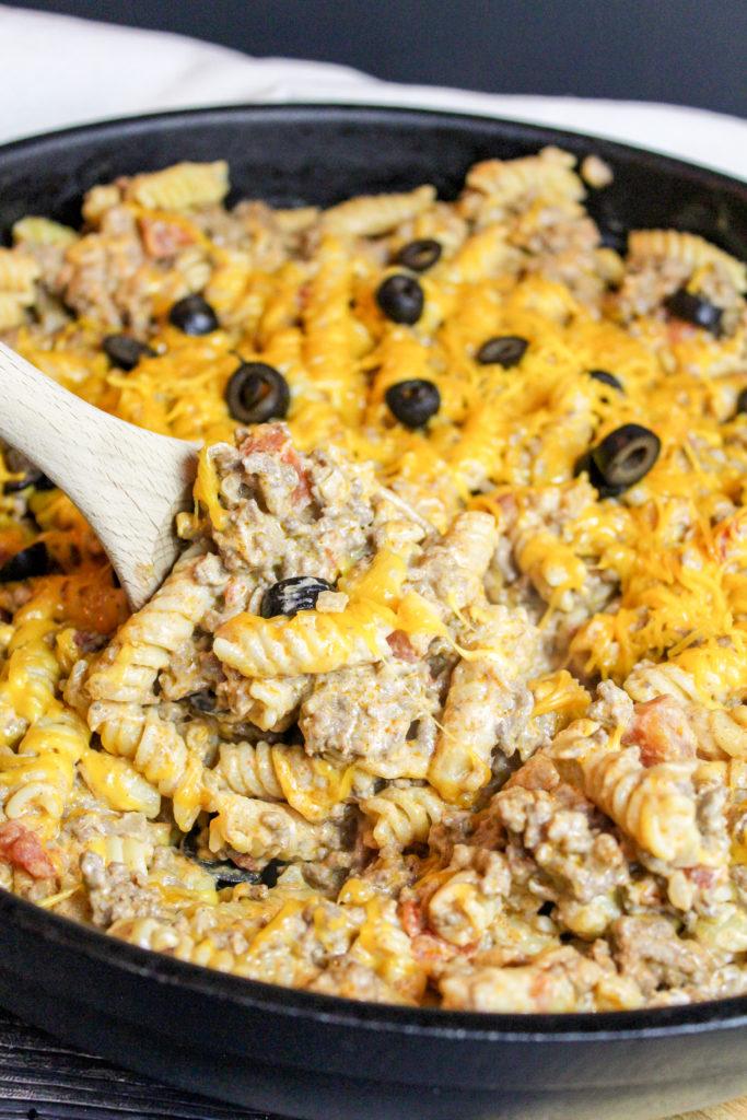 taco pasta in a skillet