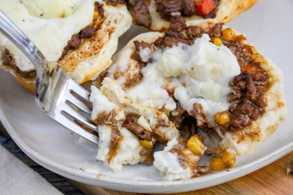 mini sheperd's pie on a plate