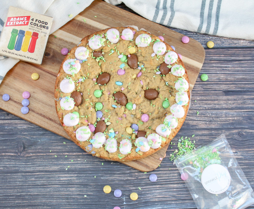 cookie cake on a tray