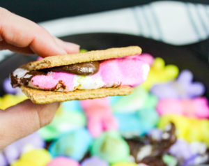 PEEPS over chocolate chips with graham crackers