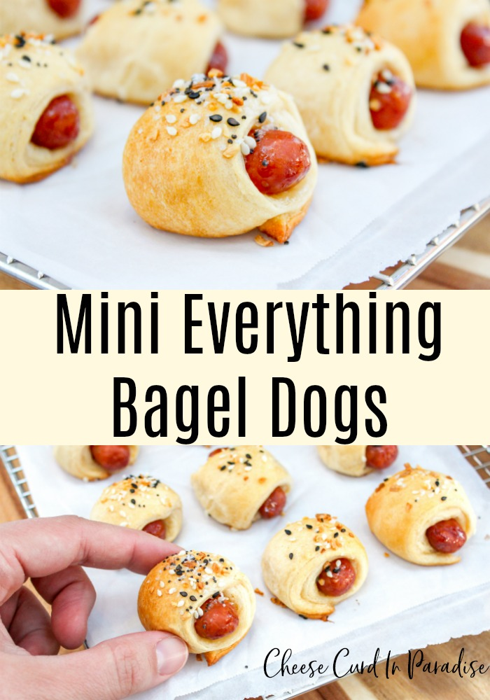 everything bagel dogs on a tray