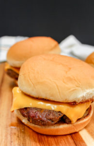 Cheeseburgers on a tray