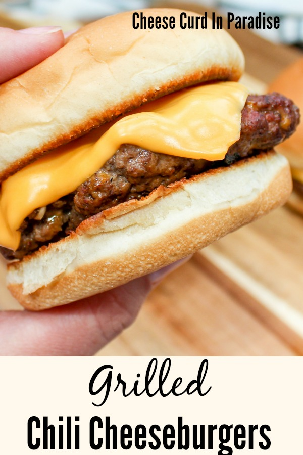 Cheeseburger held in hand for pinterest pin