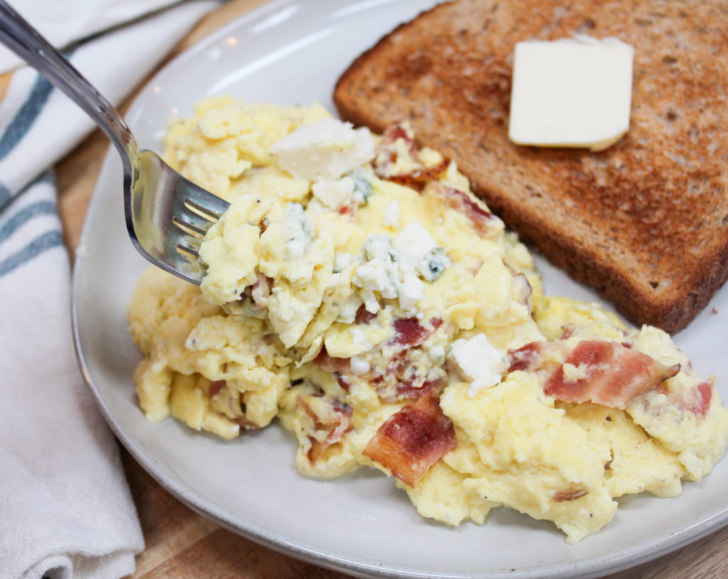 scrambled eggs on a plate