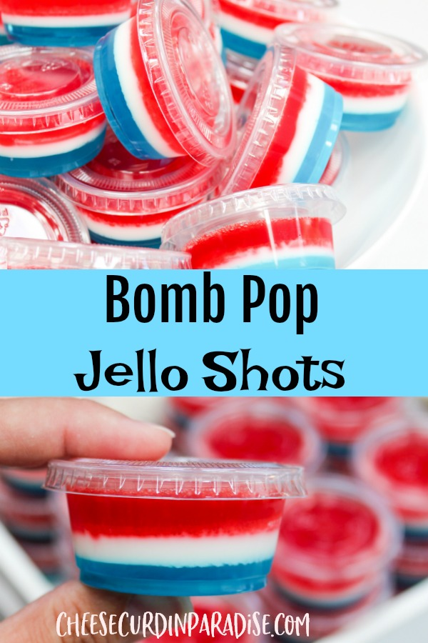 red white and blue jello shots in plastic containers
