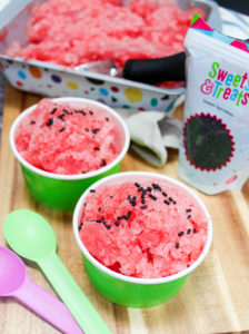 granita in a cup with a spoon