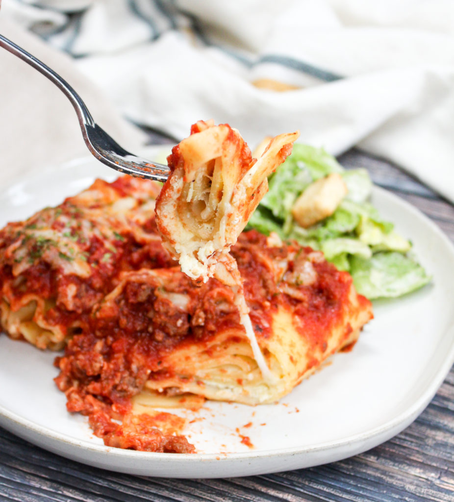 Lasagna on a white plate