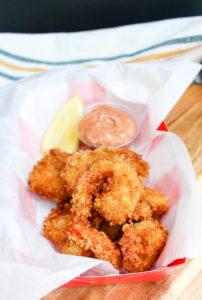 Cajun shrimp in a basket