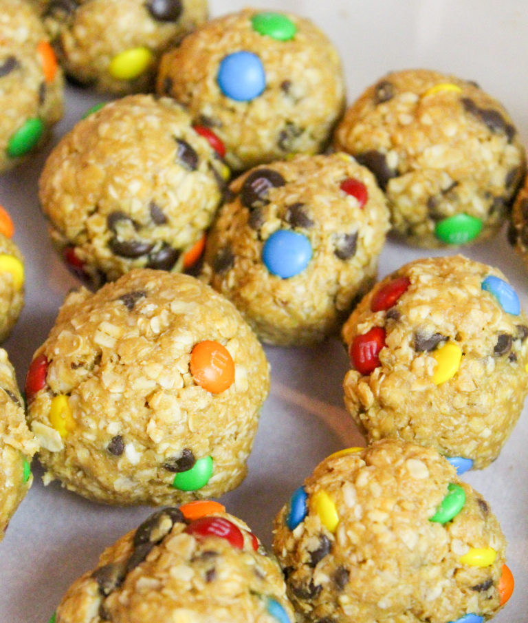 monster cookie bites on a tray