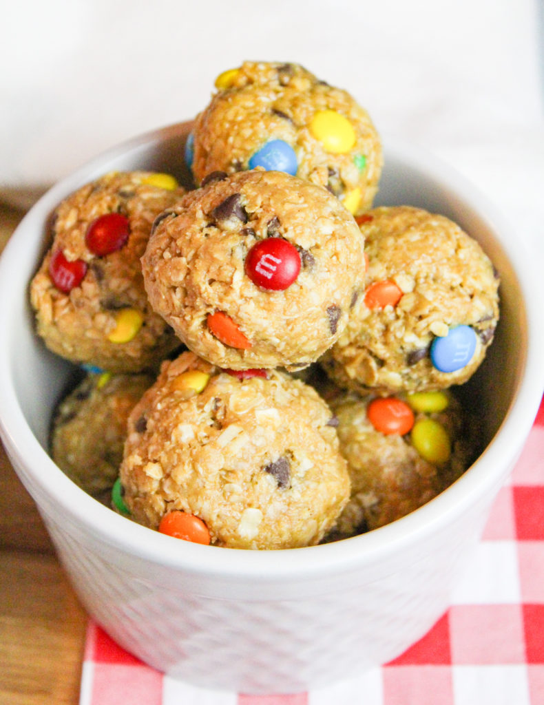 monster cookie bites in a bowl