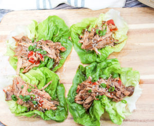 pork in a lettuce wrap