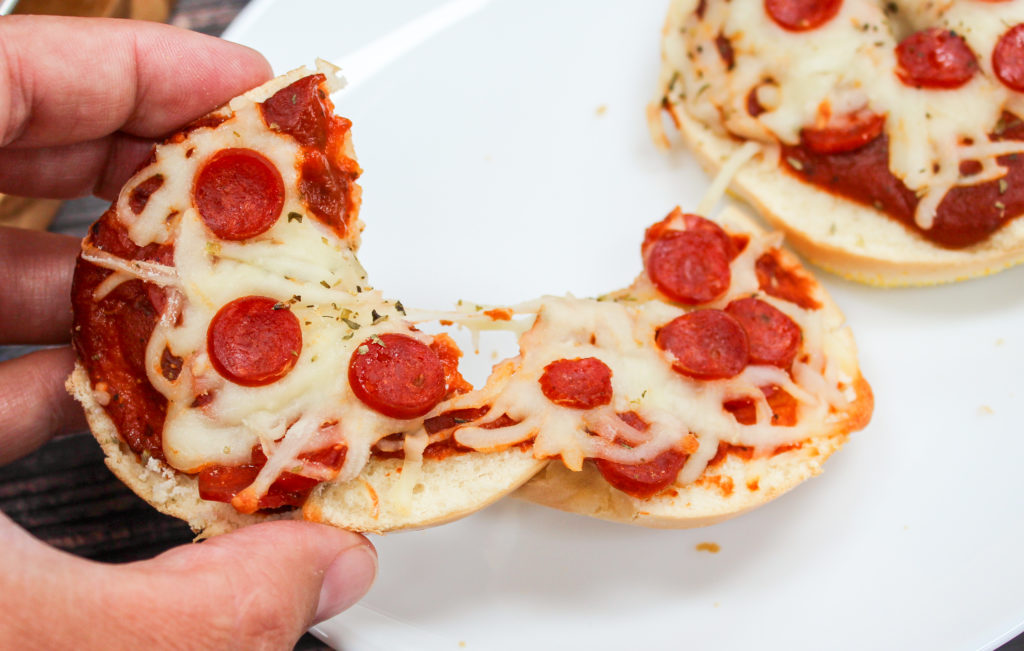 pizza bagels on a plate