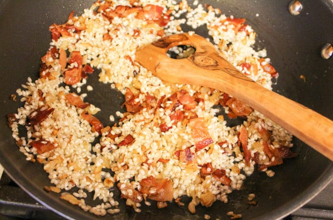 pumpkin risotto in a pan