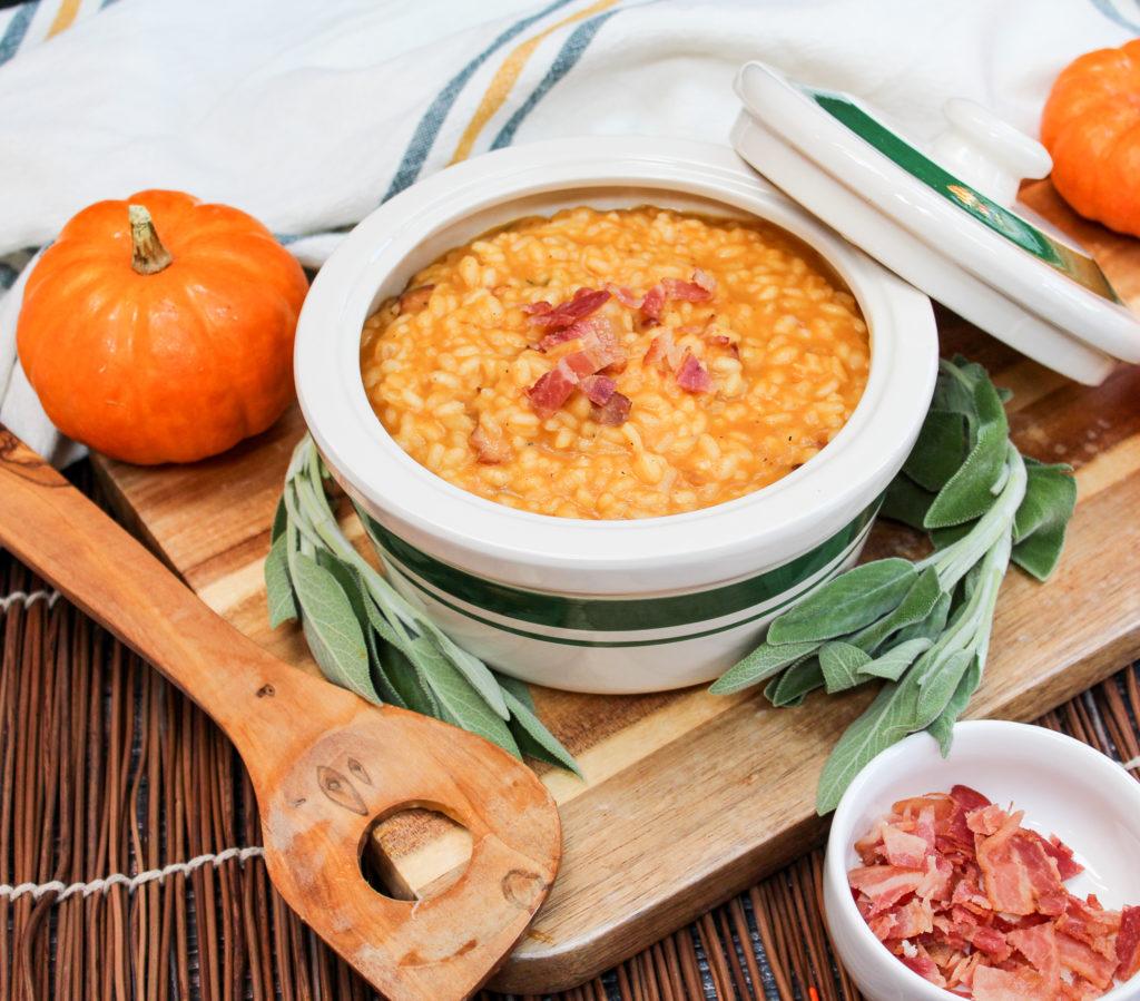 pumpkin risotto in a bowl