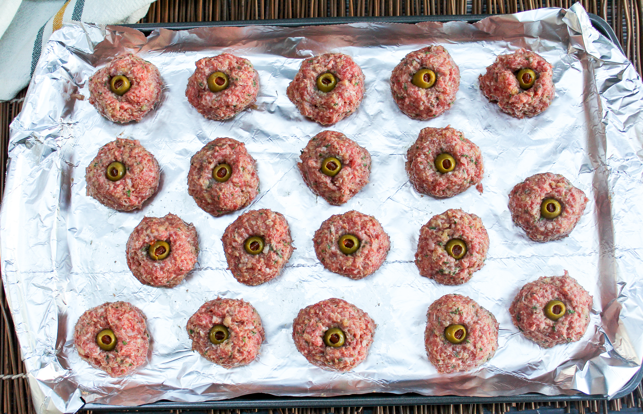 meatballs on a tray