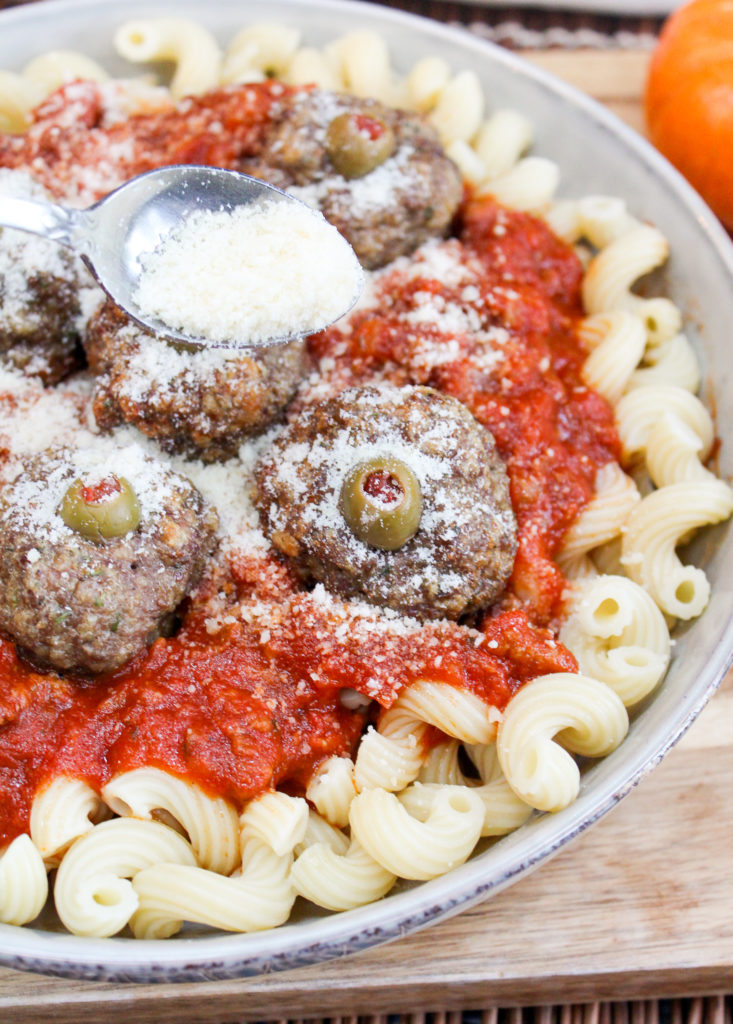 meatballs with pasta and cheese