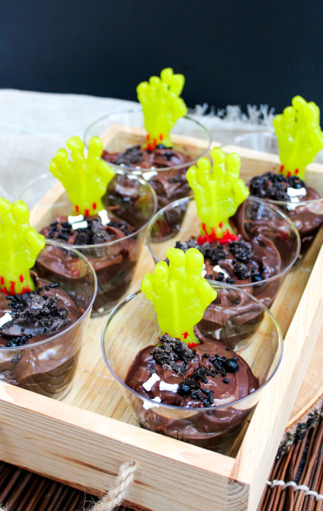 pudding cups with zombie hands