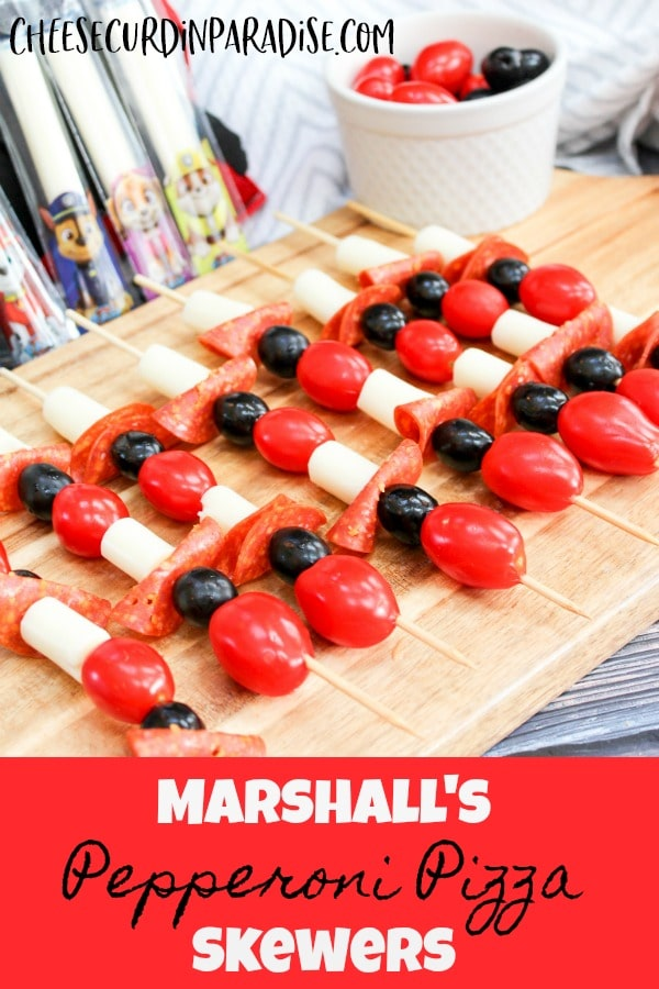 pizza skewers on a tray