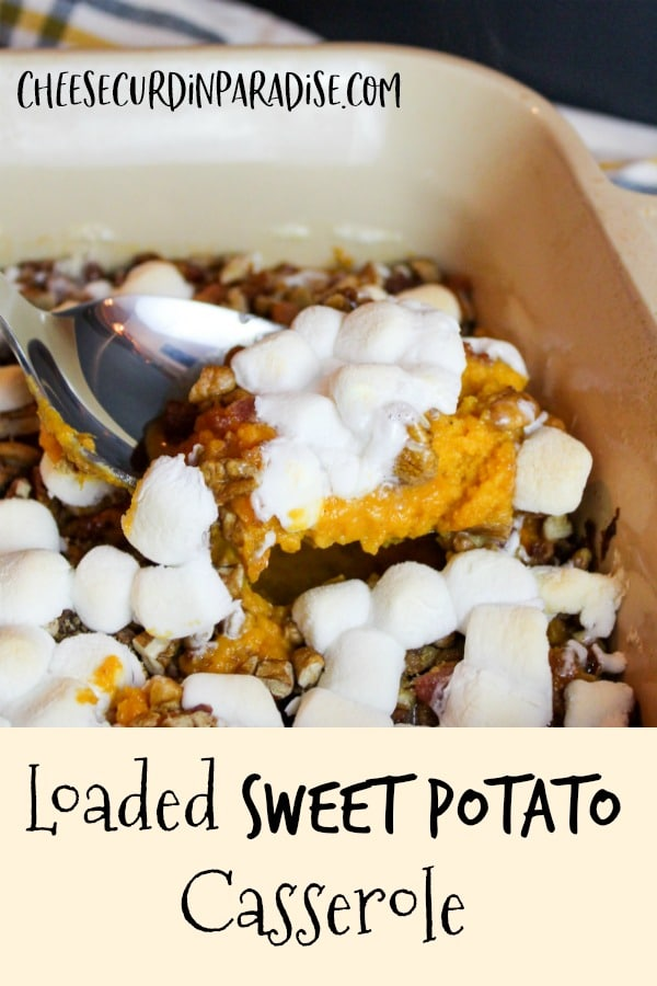 sweet potato casserole scooped from a baking dish