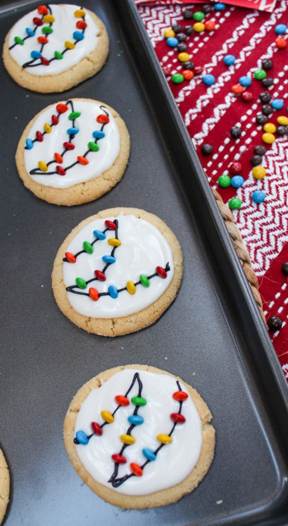 christmas lights cookies on a baking sheet