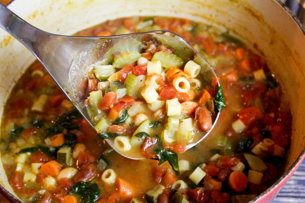 soup in a gray bowl
