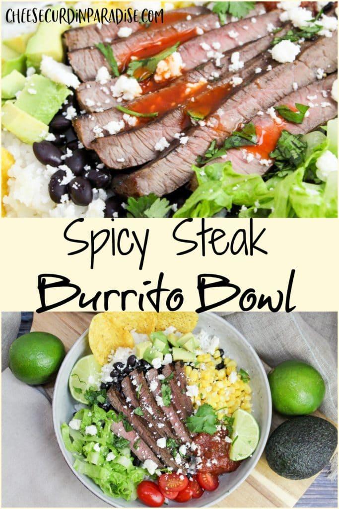 collage of burrito bowl