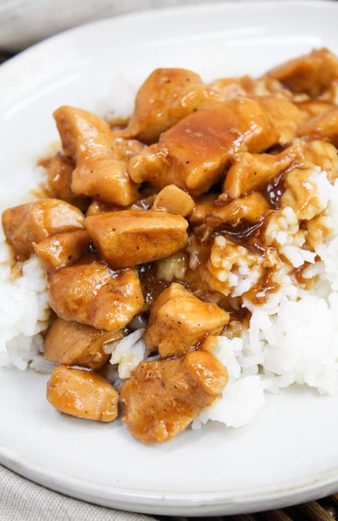 close-up of bourbon chicken on a plate