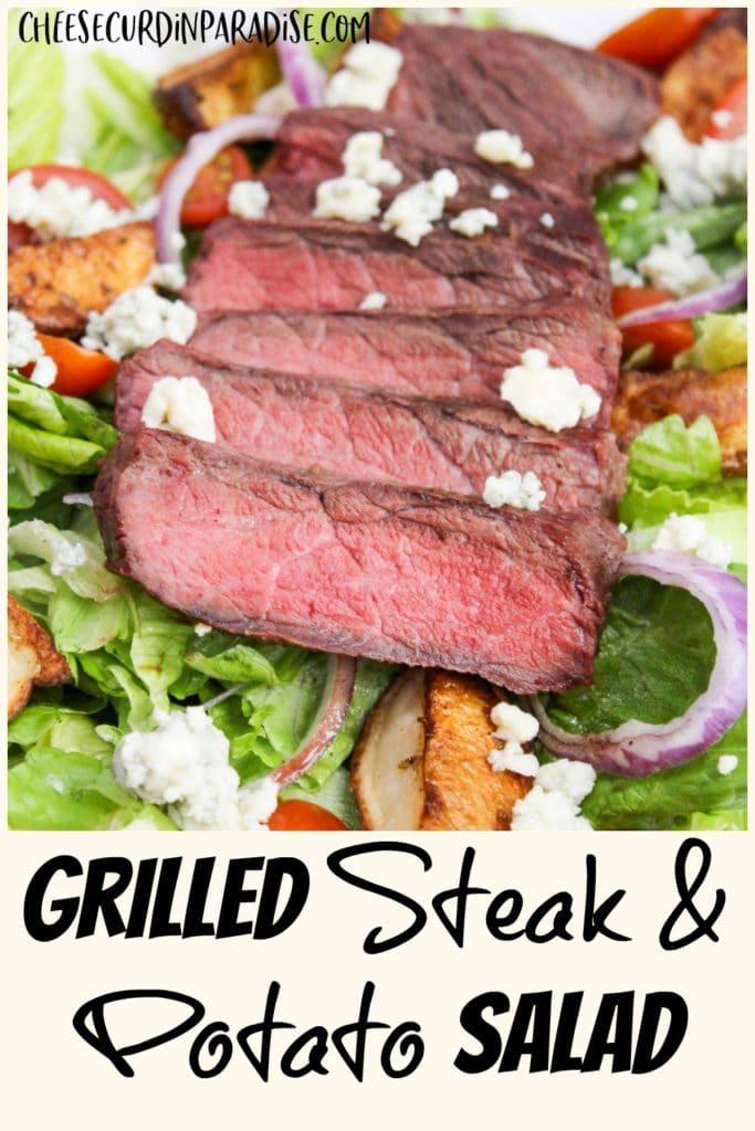 sliced steak on a sald